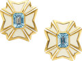 Estate Jewelry:Earrings, Aquamarine, Enamel, Gold Earrings, Verdura . ...