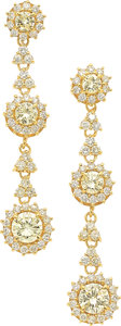 Estate Jewelry:Earrings, Colored Diamond, Gold Earrings. ...