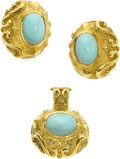 Estate Jewelry:Suites, Turquoise, Gold Jewelry Suite, Katy Briscoe. ... (Total: 2 Items)