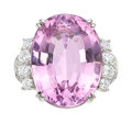 Estate Jewelry:Rings, Kunzite, Diamond, Platinum Ring. ...