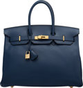 """Luxury Accessories:Bags, Hermès 35cm Blue France Ardennes Leather Birkin Bag with Gold Hardware. E Square, 2001. Condition: 3. 14"""" Width x ..."""