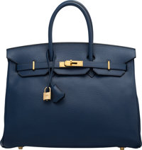 Hermès 35cm Blue France Ardennes Leather Birkin Bag with Gold Hardware E Square, 2001 Condition: