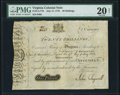 Colonial Notes:Virginia, Virginia July 17, 1775 20s PMG Very Fine 20 Net.. ...