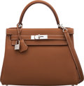 """Luxury Accessories:Bags, Hermès 28cm Gold Togo Leather Retourne Kelly Bag with Palladium Hardware. C, 2018. Condition: 1. 11"""" Width x 8"""" He..."""