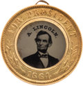 Political:Ferrotypes / Photo Badges (pre-1896), Abraham Lincoln: Near-Pristine Dated Back-to-Back Ferrotype.. ...