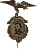 Political:Ferrotypes / Photo Badges (pre-1896), Ulysses S. Grant: Fancy 1872-Dated Ferrotype Badge.. ...
