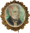 Political:Tokens & Medals, John Quincy Adams: Rare and Desirable Colored Portrait Brooch.. ...