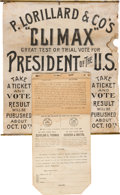 Political:Posters & Broadsides (pre-1896), Grover Cleveland and Benjamin Harrison: Tobacco Tag Presidential Poll Display.. ...