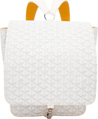 """Goyard White Goyardine Coated Canvas Backpack with Silver Hardware Condition: 2 10"""" Width x 12"""" H"""