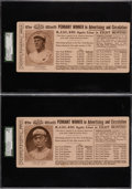 "Baseball Cards:Lots, 1916 New York World ""Leaders in Baseball"" Series 2 Blotter Cards SGC-Graded Pair (2). ..."