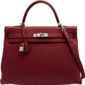 """Luxury Accessories:Bags, Hermès 32cm Rouge H Togo Leather Retourne Kelly Bag with Palladium Hardware. A, 2017. Condition: 1. 12.5"""" Width x 9"""" Height ..."""