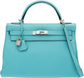 "Luxury Accessories:Bags, Hermès 32cm Blue Atoll Togo Leather Retourne Kelly Bag with Palladium Hardware. T, 2015. Condition: 2. 12.5"" Width..."