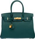 "Luxury Accessories:Bags, Hermès 30cm Malachite Togo Leather Birkin Bag with Gold Hardware. A, 2017. Condition: 1. 11.5"" Width x 8"" Height x..."