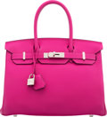 "Luxury Accessories:Bags, Hermès 30cm Rose Pourpre Evercolor Leather Birkin Bag with Palladium Hardware. A, 2017. Condition: 1. 11.5"" Width ..."