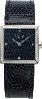 Hermès 24mm Blue Abyss Lizard Diamond Carre Cuir Watch C, 2018 Condition: 1 Wrist S