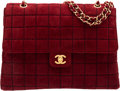 """Luxury Accessories:Bags, Chanel Burgundy Square Stitched Suede Maxi Single Flap Bag. Condition: 3. 13"""" Width x 9"""" Height x 4"""" Depth. ..."""