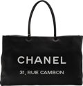 """Luxury Accessories:Bags, Chanel Black Calfskin Leather Rue Cambon Large Shopping Tote Bag. Condition: 2 . 16"""" Width x 10"""" Height x 5"""" Depth. ..."""