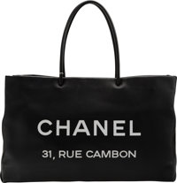 """Chanel Black Calfskin Leather Rue Cambon Large Shopping Tote Bag Condition: 2 16"""" Width x 10"""" He"""