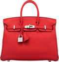"Luxury Accessories:Bags, Hermès 25cm Vermillion Swift Leather Birkin Bag with Palladium Hardware. X, 2016. Condition: 1. 10"" Width x 8"" Hei..."