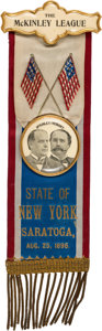 Political:Ribbons & Badges, McKinley & Hobart: One-Day Event Jugate Convention Ribbon Badge.. ...