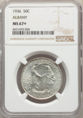 1936 50C Albany MS67+ NGC. NGC Census: (141/8 and 13/0+). PCGS Population: (204/3 and 27/0+). CDN: $550 Whsle. Bid for p...