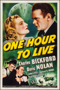 "Movie Posters:Drama, One Hour to Live (Universal, 1939). Folded, Very Fine. One Sheet (27"" X 41""). Drama.. ..."