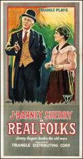 """Movie Posters:Comedy, Real Folks (Triangle, 1918). Very Fine- on Linen. Three Sheet(42.25"""" X 81). Comedy.. ..."""