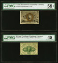 Fractional Currency:Second Issue, Fr. 1233 5¢ Second Issue PMG Choice About Uncirculated 58 EPQ;. Fr. 1241 10¢ First Issue PMG Choice Extremely Fine 45. ... (Total: 2 notes)