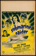 "Movie Posters:War, Submarine Raider (Columbia, 1942). Fine. Window Card (14"" X 22""). War.. ..."