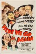 "Movie Posters:Comedy, Here We Go Again (RKO, 1942). Fine+ on Linen. One Sheet (27.5"" X41""). Comedy. From the Collection of Frank Buxton, of whi..."