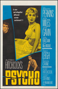 "Psycho (Paramount, 1960). Fine/Very Fine on Linen. Autographed One Sheet (27"" X 41.75""). Hitchcock. From the C..."
