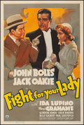 """Movie Posters:Comedy, Fight for Your Lady (RKO, 1937). Fine+ on Linen. One Sheet (27.25"""" X 41""""). Comedy. From the Collection of Frank Buxton, of..."""