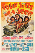 """Four Jills in a Jeep (20th Century Fox, 1944). Fine+ on Linen. One Sheet (27.5"""" X 41""""). War. From the Collecti..."""