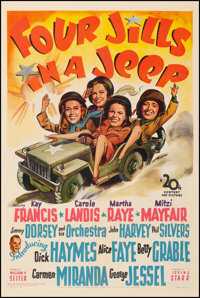 "Four Jills in a Jeep (20th Century Fox, 1944). Fine+ on Linen. One Sheet (27.5"" X 41""). War. From the Collecti..."
