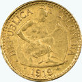 Colombia, Colombia: Republic gold 5 Pesos 1919 MS62 NGC,...