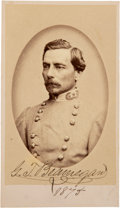 Photography:CDVs, Confederate General Pierre Gustave Toutant Beauregard Carte de Visite Signed...