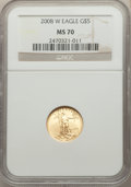 Modern Bullion Coins, 2008-W $5 Tenth-Ounce Gold Eagle, Burnished, MS70 NGC. NGC Census: (1513). PCGS Population: (430). CDN: $510 Whsle. Bid for...
