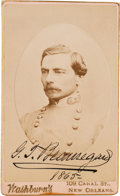 Photography:CDVs, Pierre G. T. Beauregard Carte de Visite Signed Twice....