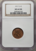 Lincoln Cents: , 1911-S 1C MS64 Red and Brown NGC. NGC Census: (125/63). PCGS Population: (290/87). CDN: $450 Whsle. Bid for problem-free NG...
