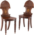 Furniture , A Pair of William IV Inlaid Mahogany Hall Chairs, early 19th century. 34-3/4 x 16 x 14-1/2 inches (88.3 x 40.6 x 36.8 cm) (e... (Total: 2 Items)