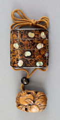 Carvings, A Japanese Maki-e Lacquered Wood and Mother-of-Pearl Inlay Inro With Carved Wood Netsuke. 2-1/8 x 2-1/8 x 3/4 inches (5.4 x ...