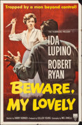 "Movie Posters:Film Noir, Beware, My Lovely (RKO, 1952). Folded, Fine+. One Sheet (27"" X41""). Film Noir.. ..."