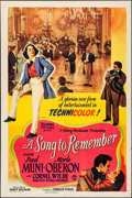 "Movie Posters:Drama, A Song to Remember (Columbia, 1945). Folded, Very Fine-. One Sheet(27"" X 41"") Style B. Drama.. ..."