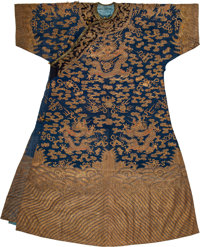 A Chinese Blue-Ground Kesi Silk Eight Dragon Robe, late Qing Dynasty 60 x 46 inches (152.4 x 116.8 cm)