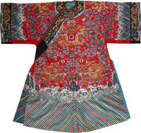 A Chinese Red-Ground Silk Dragon Court Robe, late Qing Dynasty 54 x 58 inches (137.2 x 147.3 cm)