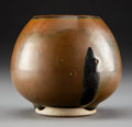 Ceramics & Porcelain:Chinese, A Chinese Cizhou Russet Glazed Stoneware Lotus Bud Water Pot, . Northern Song Dynasty. 3 x 4 inches (7.6 x 10.2 cm). PROPE...