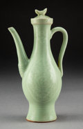 Ceramics & Porcelain:Chinese, A Chinese Longquan Ewer with Cover, Ming Dynasty. 8 x 4-3/4 x 3-1/4 inches (20.3 x 12.1 x 8.3 cm). PROPERTY FROM A PRIVATE...