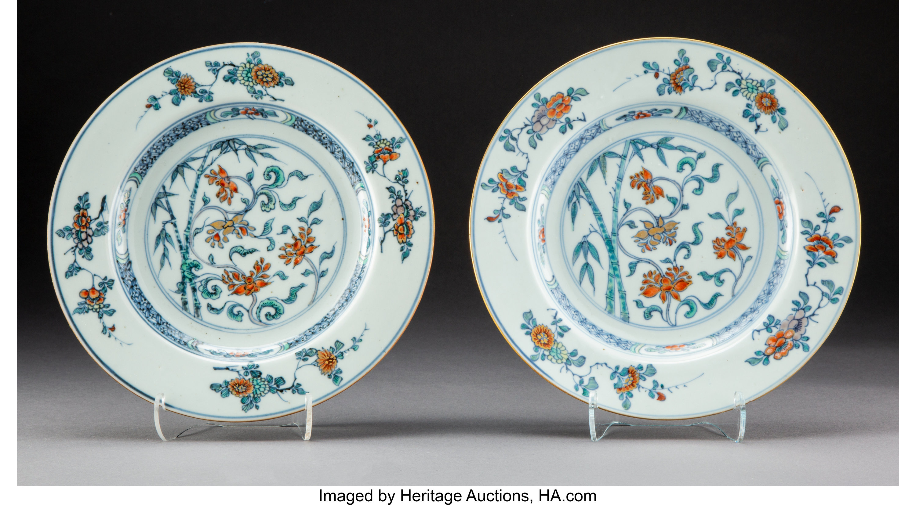 A Pair of Chinese Doucai Porcelain Plates, Qing Dynasty
