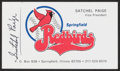Autographs:Index Cards, Satchel Paige Signed Springfield Redbirds Business Card. ...