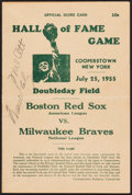 Baseball Collectibles:Programs, 1955 Hall of Fame Game Dual-Signed Scorecard with Ott & Giles....